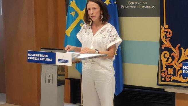 La portavoz del Gobierno asturiano y consejera de Derechos Sociales y Bienestar, Melania Álvarez, en rueda de prensa tras el Consejo de Gobierno.