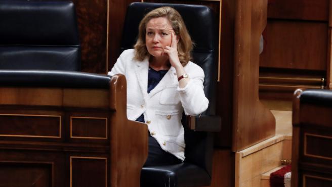 Nadia Calviño durante una sesión de control al Gobierno en el Congreso en una imagen de archivo.