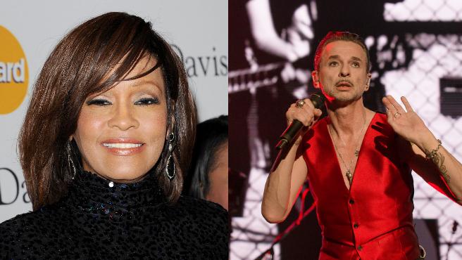 Whitney Houston y Dave Gahan, cantante del grupo Depeche Mode.