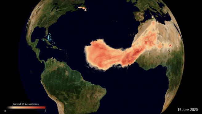 Imagen de la gigantesca nube de polvo del Sahara bautizada con el nombre de 'Godzilla'.