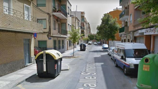 Imagen de la calle Simancas, en Caravaca de la Cruz, a la altura del lugar donde han ocurrido los hechos.