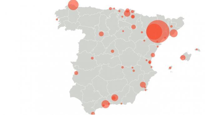 Mapa de los rebrotes de coronavirus en España.