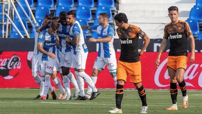 El Leganés celebra un gol.