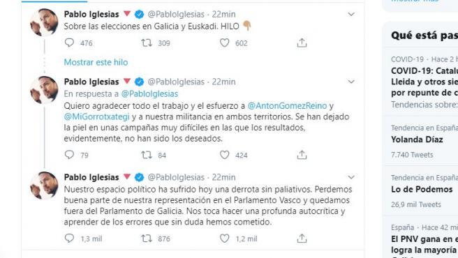 Hilo de Pablo Iglesias sobre su debacle en los comicios gallegos y vascos.