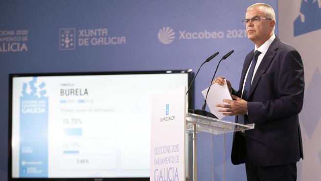 Rueda de prensa en el centro de datos en la Xunta sobre las elecciones autonómicas de 2020 en Galicia.