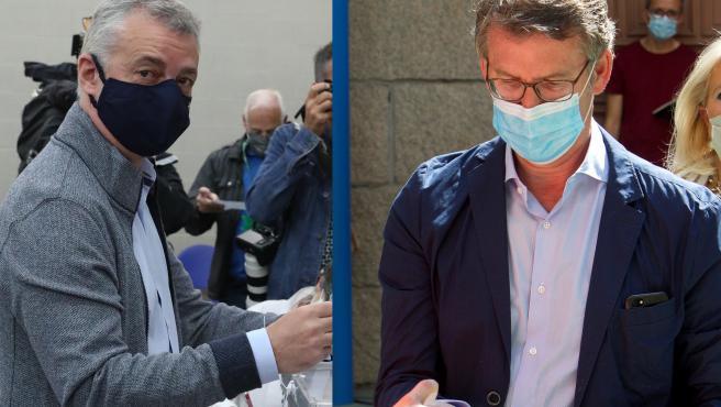 El candidato a lehendakari Iñigo Urkullu y el candidato a presidente gallego Alberto Núñez Feijóo, este domingo electoral.