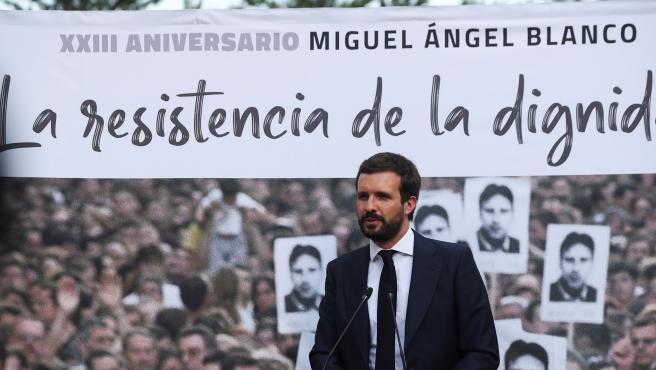 El presidente del PP, Pablo Casado, en el homenaje a Miguel Ángel Blanco.