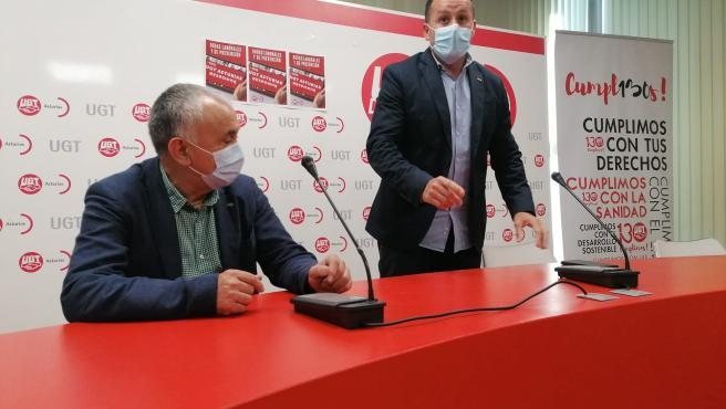 El secretario de UGT, Pepe Álvarez y su homólogo en Asturias, Javier Fernández Lanero.