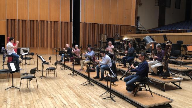 Músicos de la Orquesta Sinfónica del Principado de Asturias (OSPA) en un ensayo.