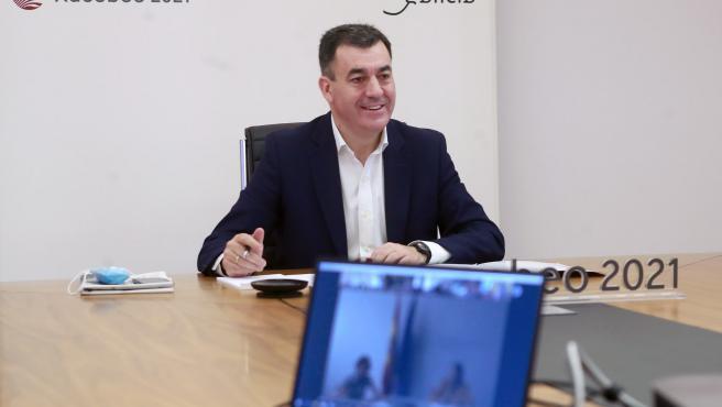 O conselleiro de Cultura e Turismo en funcións, Román Rodríguez, participa por videoconferencia na Conferencia Sectorial de Turismo.