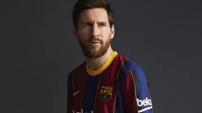 Leo Messi, con la nueva camiseta del Barcelona