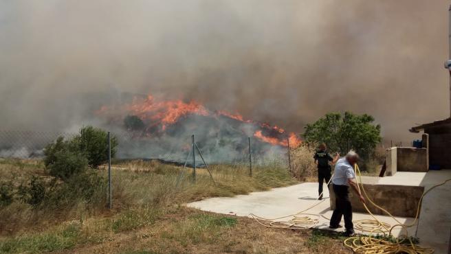 Incendio cerca de Los Arcos