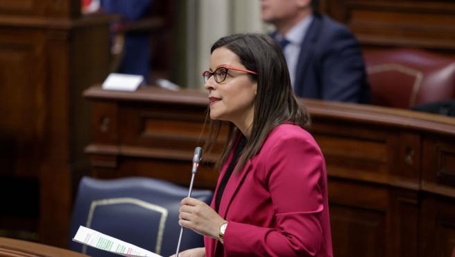 La consejera de Turismo del Gobierno de Canarias, Yaiza Castilla, interviene ante el Pleno del Parlamento