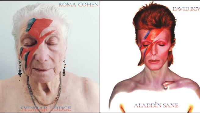 Una mujer anciana recreando el álbum Aladdin Sane de David Bowie.