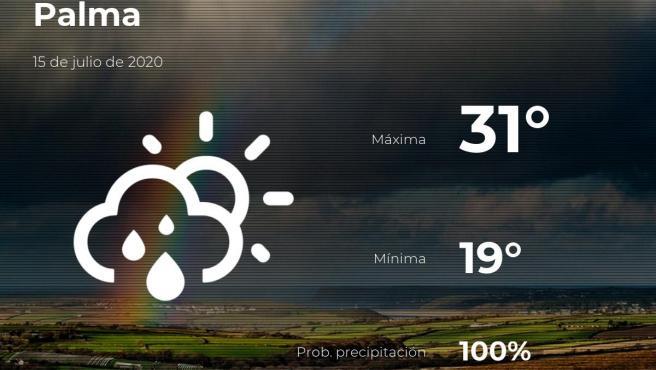 El tiempo en Baleares: previsión para hoy miércoles 15 de julio de 2020