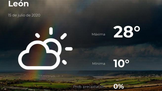 El tiempo en León: previsión para hoy miércoles 15 de julio de 2020