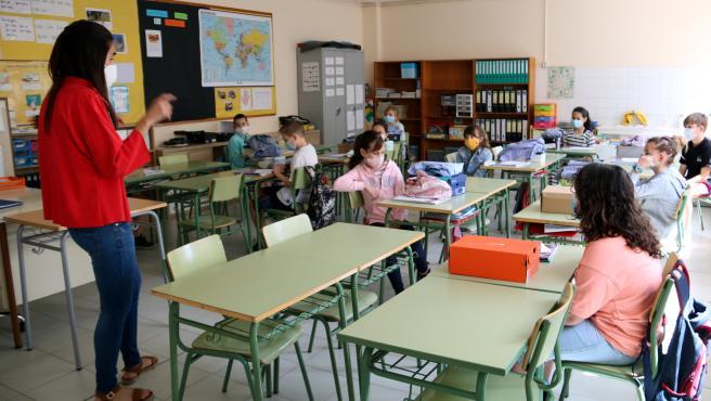 Interior de un aula del Instituto-escuela de Navàs (Barcelona).