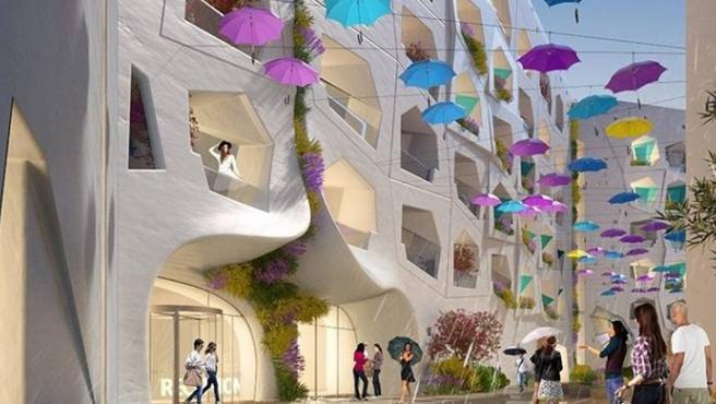 Una representación de la 'calle lluviosa' de Dubai.