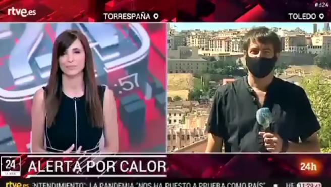 Un reportero informa sobre las altas temperaturas en Canal 24 Horas.