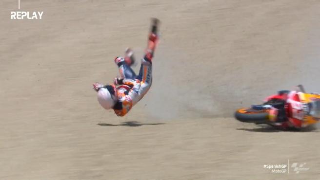 Caída de Márquez en el GP de España de MotoGP