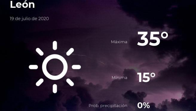 El tiempo en León: previsión para hoy domingo 19 de julio de 2020