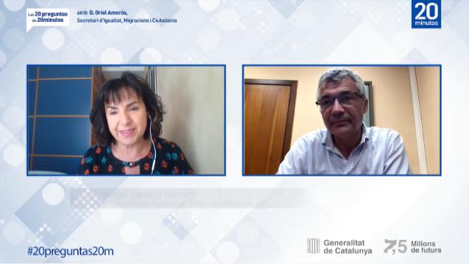 Debate 'Las 20 preguntas de 20 Minutos' con Oriol Amorós, Secretari d'Igualtat, Migracions i Ciutadania de la Generalitat catalana, moderado por la coordinadora de 20 Minutos en Barcelona, Isabel Serrano.