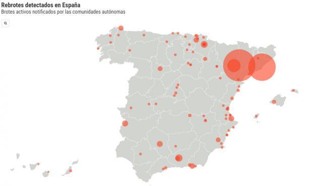 Mapa de los rebrotes en España actualizado a 22 de julio.
