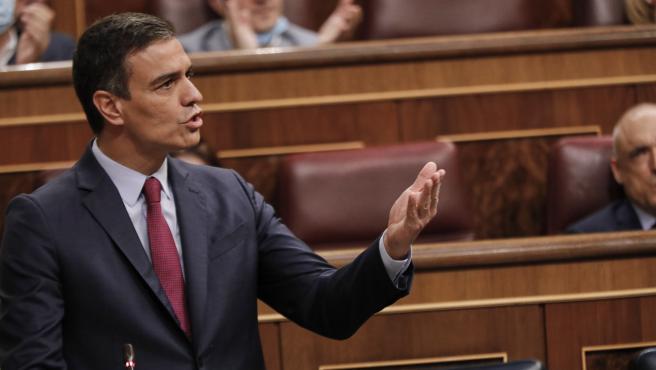 El Presidente del Gobierno, Pedro Sánchez, interviene en la penúltima sesión plenaria en el Congreso de los Diputados antes del paréntesis estival, en Madrid (España), a 22 de julio de 2020
