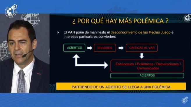 Carlos Velasco Carballo durante la rueda de prensa de análisis del VAR