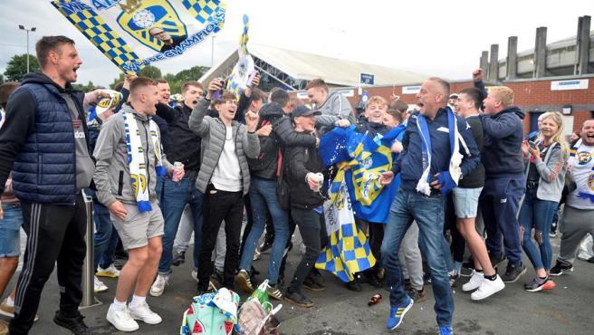 Celebración de la afición del Leeds