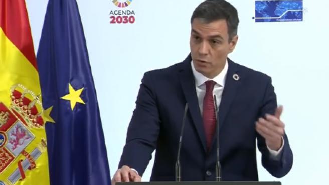Pedro Sánchez, durante la presentación en Moncloa
