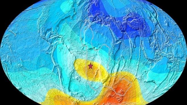 Mapa de la Tierra que muestra la desviación actual de la dirección esperada del campo magnético.