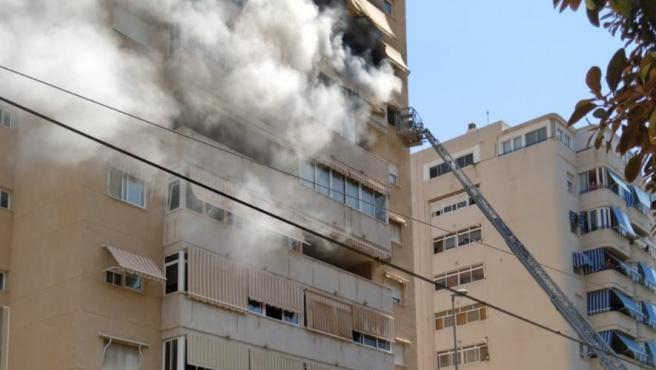 La vivienda afectada por las llamas.