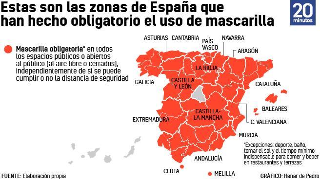 Zonas donde la mascarilla es obligatoria a 24 de julio de 2020.