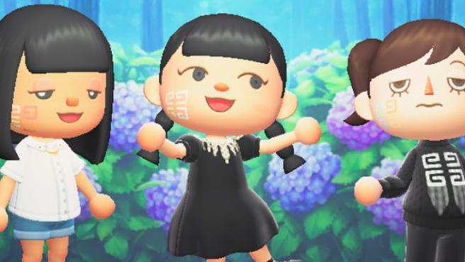 Personajes del Animal Crossing llevando los diseños de Givenchy.