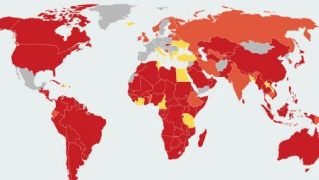 El mapa oficial de los países que restringen los viajes a España.