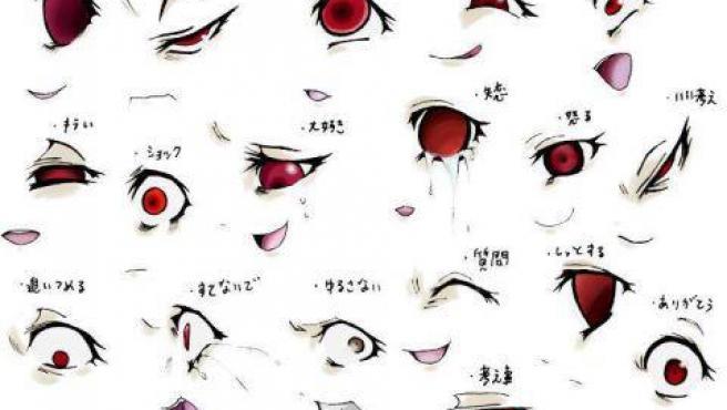 Ojos en técnica manga utilizados para demostrar actitudes psicópatas típicas del genero gore.