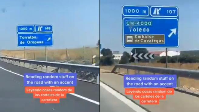 Una usuaria de TikTok lee los carteles de varias localidades españolas.