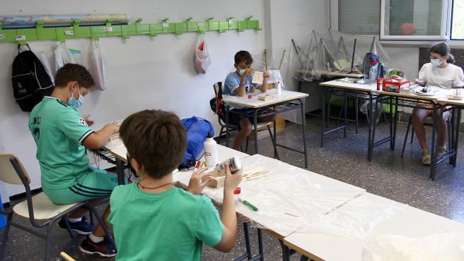 Los niños de primaria, en una de las actividades.