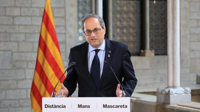 El presidente de la Generalitat, Quim Torra, en una declaración institucional