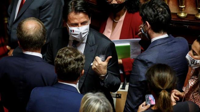El primer ministro italiano, Giuseppe Conte, en el debate en el Senado.