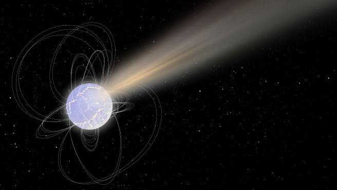 Impresión artística de 'SGR 1935 + 2154', un remanente estelar altamente magnetizado, también conocido como magnetar Impresión artística de 'SGR 1935 + 2154', un remanente estelar altamente magnetizado, también conocido como magnetar (Foto de ARCHIVO) 1/1/1970