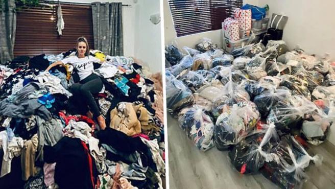 Una mujer se fotografía con sacos llenos de ropa después de una intensa limpieza.