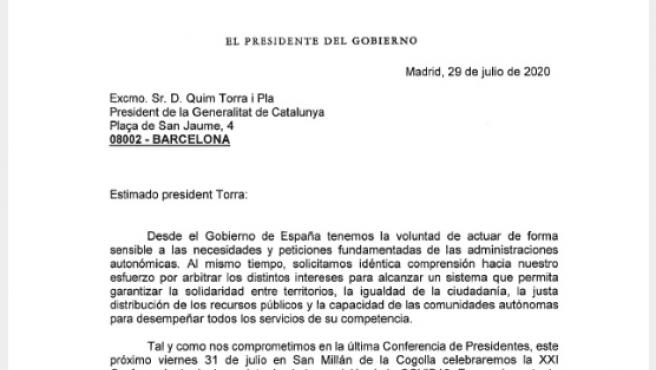 Carta del presidente Pedro Sánchez a Quim Torra.
