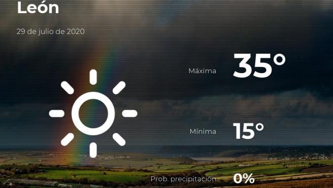 El tiempo en León: previsión para hoy miércoles 29 de julio de 2020