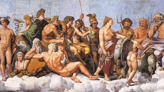 La asamblea de dioses, principalmente los doce olímpicos, reciben a Psique en esta obra del pintor Rafael.