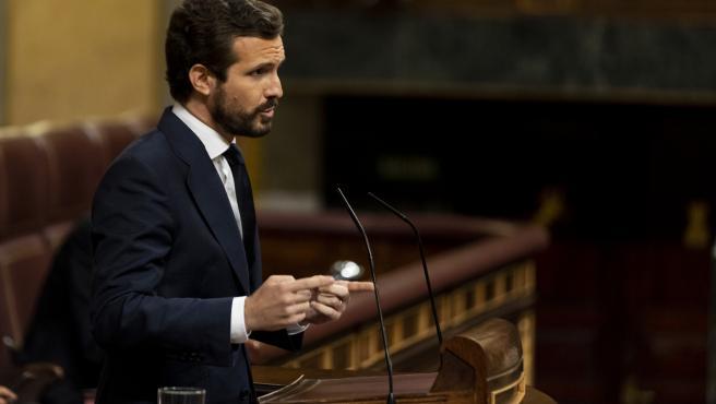 29/7/2020, Madrid. El Presidente Pedro Sanchez asiste al pleno del Congreso de los Diputados para dar cuenta del reciente Consejo Europeo. En la imagen, Pablo Casado. foto: POOL / Alberto Di Lolli / POOL