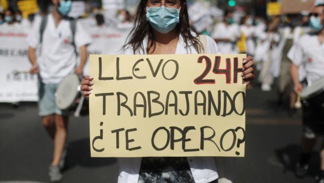 Fotografía de la manifestación de los MIR el pasado 13 de julio en Madrid