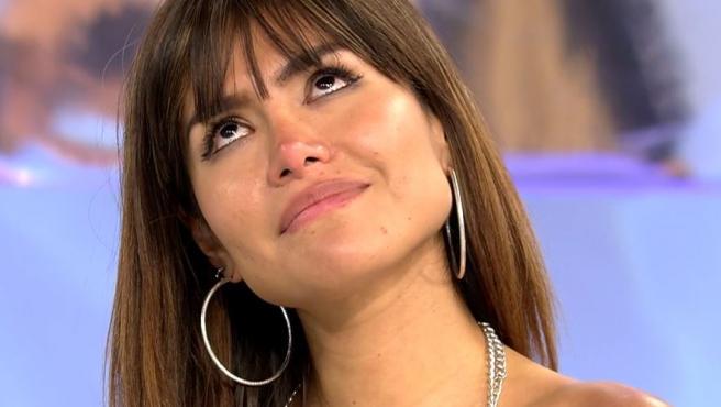 Miriam Saavedra al borde de las lágrimas este viernes en 'Sálvame'.