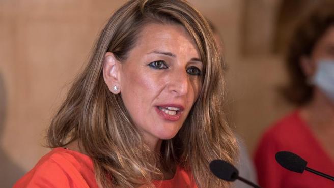 Yolanda Díaz tras un encuentro este sábado en Palma de Mallorca.